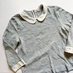 J. Crew• grey and cream collar top